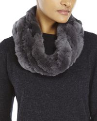 Surell | Gray Real Rabbit Fur Infinity Loop Scarf | Lyst