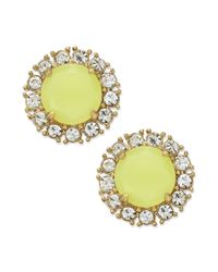 kate spade new york | Gold-tone Florescent Yellow Stud Earrings | Lyst