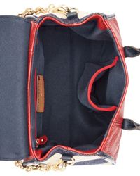 Tommy Hilfiger Red Th Turnlock Mixed Media Mini Convertible Top Handle