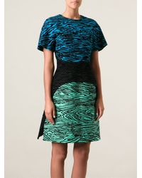 Proenza Schouler Blue Flocked Layered Dress