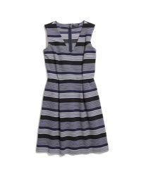 Madewell Blue Gallerist Ponte V-Neck Dress in Stripemix