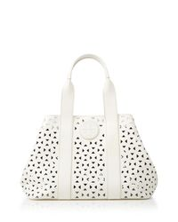 Tory Burch White Tote - Bloomingdale'S Exclusive Ella Perforated Mini