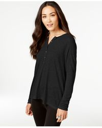 G.H. Bass & Co. | Black Waffle-knit Henley Top | Lyst