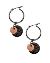 Nine West - Metallic Tri Tone Disc Drop Earrings - Lyst