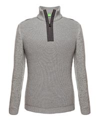 BOSS Green | Gray Sweater 'zem' In Wool Blend for Men | Lyst