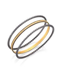 Freida Rothman | Metallic Bezel Eternity Bangle Bracelet Set | Lyst