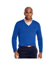Ralph Lauren - Blue Merino Wool V-neck Sweater for Men - Lyst