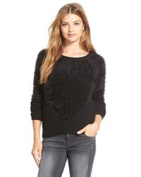 Vince Camuto | Blue Eyelash Knit Crewneck Sweater | Lyst