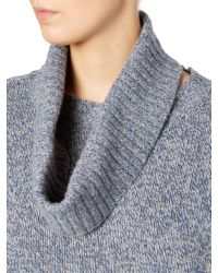 Max Mara Blue Dandy Cashmere Wool Jumper With Detachable Collar
