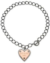 Guess - Pink Two-tone Logo Heart Pendant Toggle Necklace - Lyst