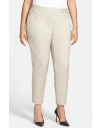 Sejour - Brown Stretch Ankle Pants - Lyst