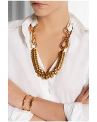 Finds | Metallic + Moxham Snipe Gold-Plated And Leather Necklace | Lyst