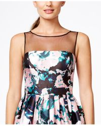 Adrianna Papell - Multicolor Floral Fit And Flare Dress - Lyst