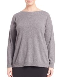Eileen Fisher | Gray Boxy Bateau-neck Cashmere Sweater | Lyst