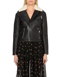 Maje | Black Bluff Shearling-collar Leather Biker Jacket | Lyst