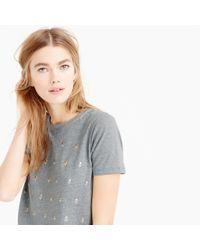 J.Crew Gray Heathered Embellished Dot T-shirt