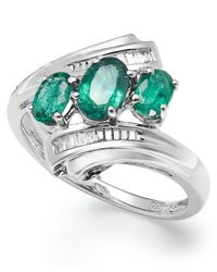 Macy's | Green Sterling Silver Emerald (3/4 Ct. T.w.) And Diamond Accent Three-stone Ring | Lyst