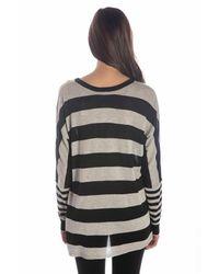 Wilt Clothing - Wilt Big Drop Rugby Stripe Silk & Cashmere Sweater Black & Grey - Lyst