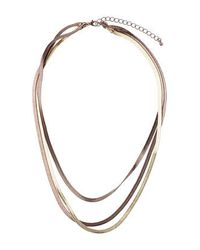 TOPSHOP | Brown Three Row Flat Snake Chain | Lyst