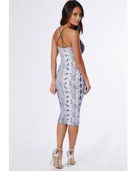 Missguided Multicolor Sam Snake Print Strappy Midi Dress Blue