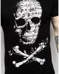 DIESEL - T-shirt Cl-t-smash Crew Neck Mini Photo Skull Print In Black for Men - Lyst