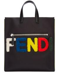 Fendi Black Shearling-Logo Tote