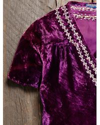 Free People - Purple Vintage Velvet Wrap Top - Lyst