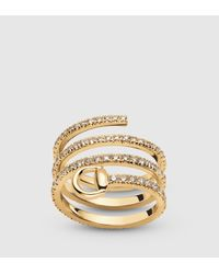 Gucci Horsebit Ring In Yellow Gold And Diamonds