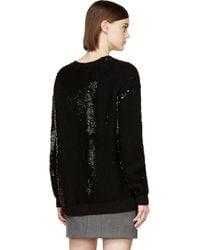 McQ Black Sequin Knit Crew Neck Sweater