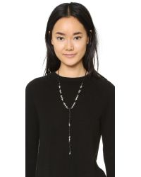 Sam Edelman - Black Knotted Bead Y Necklace - Lyst