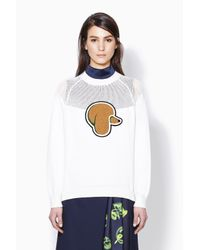 3.1 Phillip Lim - White Long Sleeve Pullover With Mesh Yoke - Lyst