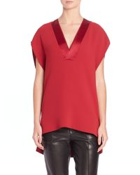 VINCE | Red Satin Trim Hi-lo Top | Lyst