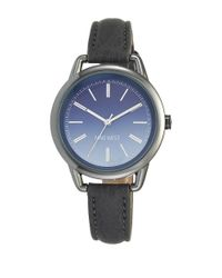 Nine West Gray Ombre Dial And Leather Strap Watch