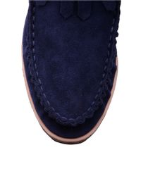 Splendid Blue Bennie Suede Moccasin Ankle Boots