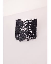 Missguided - Black Lace Effect Cut Out Cuff - Lyst