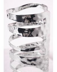 Missguided - Metallic Large Cut Out Cage Cuff Silver - Lyst