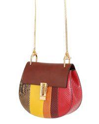 Chloé Brown Small Drew Striped Python Shoulder Bag