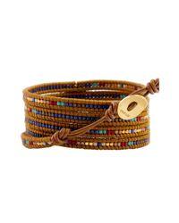 Chan Luu Brown Blue Mix Charm Wrap Bracelet