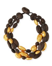 Viktoria Hayman | Metallic Triple-strand Wood And Gold Necklace | Lyst