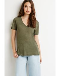 Forever 21 | Green Contemporary Heathered V-neck Tee | Lyst