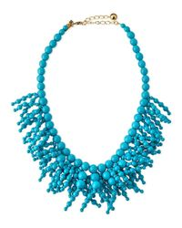 kate spade new york - Blue Fringe Appeal Beaded Necklace - Lyst