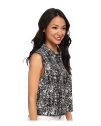 Vince Camuto - Black Sleeveless Textured Etching Mock Neck Shell - Lyst