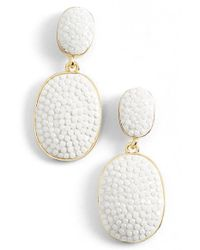 kate spade new york | White 'pave The Way' Drop Earrings | Lyst