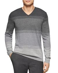 Calvin Klein | Gray Heathered Stripe V-neck for Men | Lyst