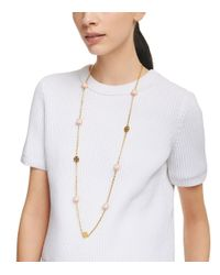 Tory Burch - Pink Dipped Evie Chain Rosary Necklace - Lyst
