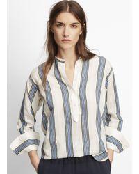 Vince Blue Vertical Stripe Henley Blouse