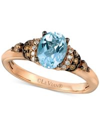 Le Vian | Blue Chocolatier Aquamarine (9/10 Ct. T.w.) And Diamond (1/6 Ct. T.w.) Ring In 14k Rose Gold | Lyst
