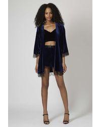 TOPSHOP Blue Velvet Lace Trim Kimono