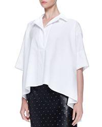 Lanvin - White Short-sleeve Oversized Poplin Shirt - Lyst