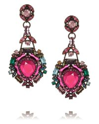 Lanvin Purple Santa Barbara Silver-tone Crystal Clip Earrings